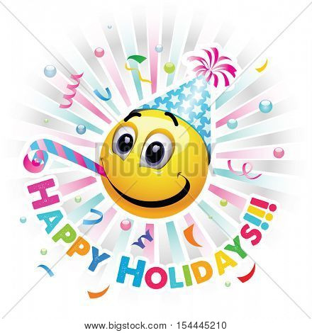 Happy holidays greeting card. Smiley celebrating. Smiley being cheerful and having fun at the party. High quality vector illustration.
