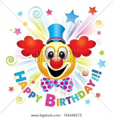 Happy birthday greeting card. Smiley ball as clown celebrating. Smiley being cheerful and having fun at the party. High quality vector illustration.