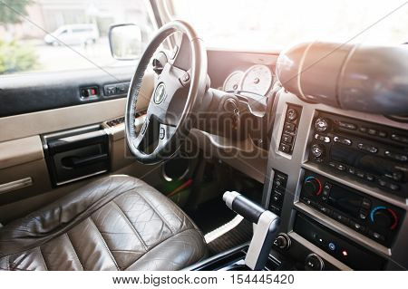 Hai, Ukraine - October 20, 2016: Hummer H2 Interior