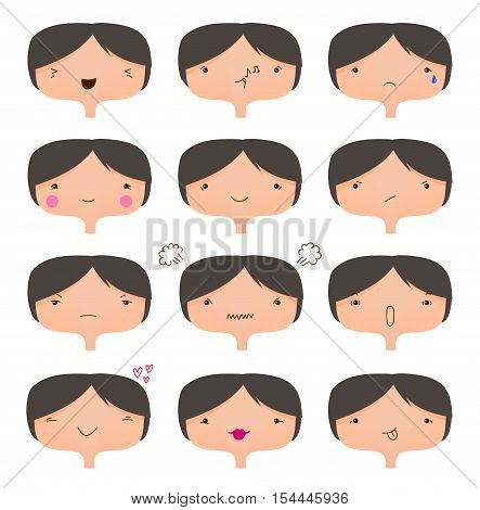 Vector set of cute faces, different moods collection. Girl cartoon character