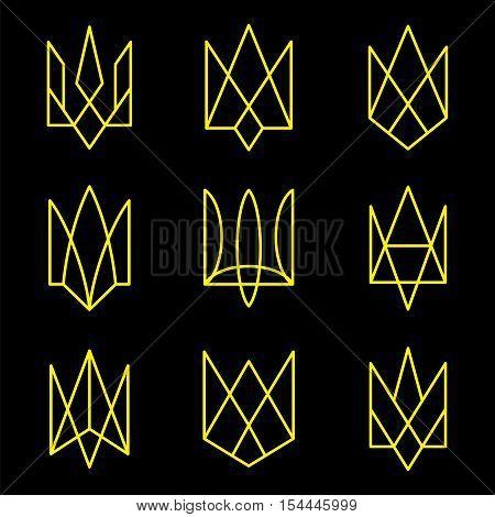 Vector geometric figures. Emblem of Ukraine. Trident.