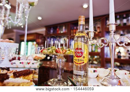 Hai, Ukraine - October 25, 2016: Rum Havana Club On Buffet Table. Havana Club Is A Brand Of Rum Crea