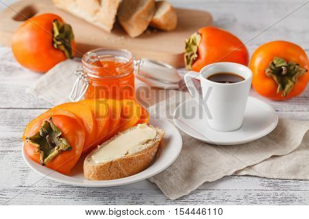 Delicious Peach And Orange Jam On A Breakfast Table.