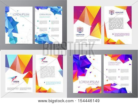 Vector set of document, letter or logo style cover brochure and letterhead template design mockup set for business presentations, arrow, cube logo. Flyer, modern faceted design