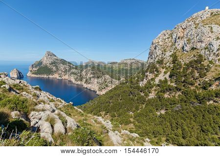 Coll Baix Beach. View from the high of the beautiful cliffed coast of Mallorca Spain.