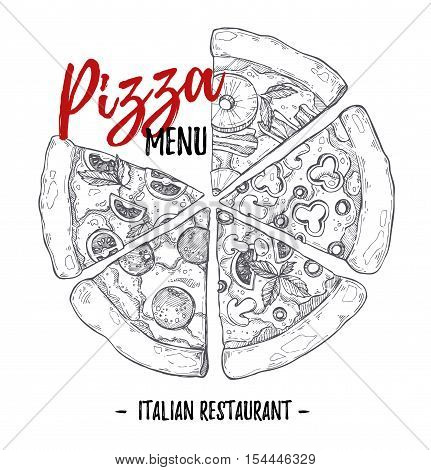Hand Drawn Vector Illustration - Pizza Menu (italian Restaurant). Types Of Pizza: Pepperoni, Margher