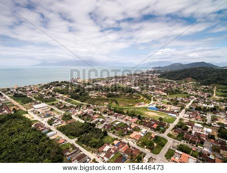 Aerial view of Small Village in Mountains in Brazil