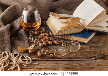 Snifter Of Brandy And Book, Dried Oak Leaves