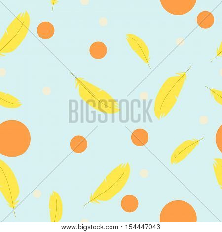 Seamless texture for children with feathers on a blue background. Vector