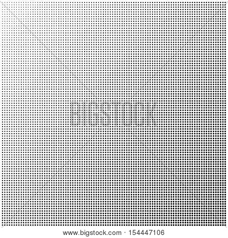 Diagonal gradient background. Pop art background texture. Halftone black dots on white background. Screen print gradation texture
