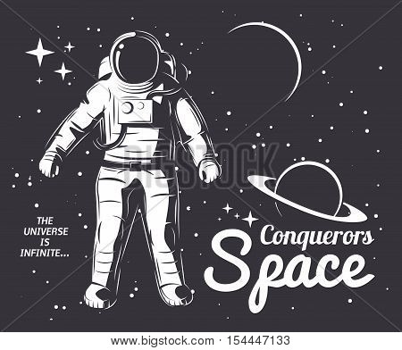 Traveler universe. universe researcher.Man in suit on the background of the infinite universe.The illustration on the theme of science, space exploration and space.