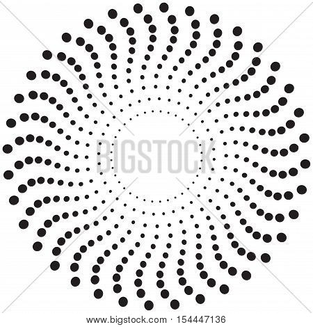Abstract circle texture. Screen printing pattern. Concentric dots pattern. Radial frame. Abstract vortex. Circular pattern. Round halftone frame isolated on white. Textured design element.