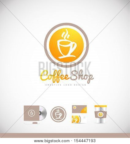 Coffe cup badge hot vector logo icon sign design template corporate identity