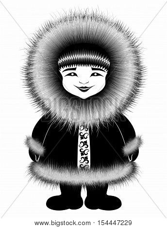 eskimo personage in winter clothes . northern cold .black drawing .