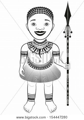 African tribe character . boy with spear .graphic drawing pattern .