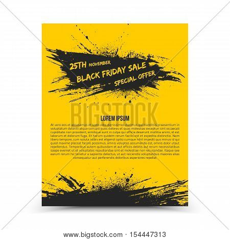 Vector isolated yellow flyer design template Black Friday Sale. Abstract hand made grunge illustration on white background for advertise, promote, business. Handicraft art ink scatter blot and smear