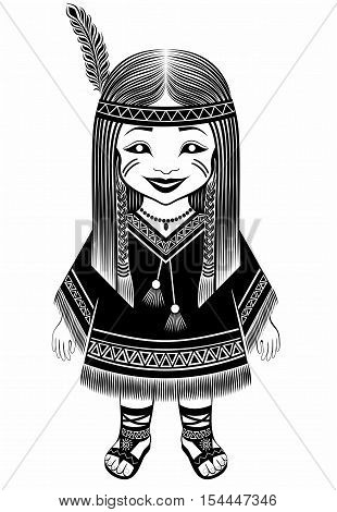 American Indian in full dress . Reconstruction . Ethnicity race.   girl character. graphic drawing patterns.