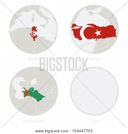 Tunisia, Turkey, Turkmenistan, Tuvalu map contour and national flag in a circle. Vector Illustration.
