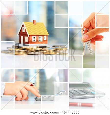 Real estate investment collage. Mortgage conceptual picture.