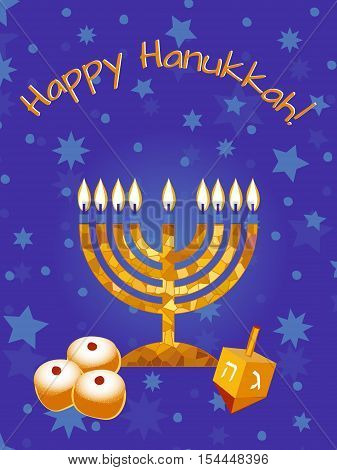 Hanukkah Greeting card design vector template. Jewish Light Festival greeting card poster/ background. Hanukkah menorah with candles spinning dreidel with Hebrew letters & traditional donuts.