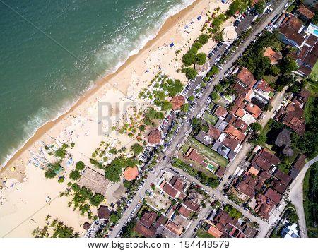 Top View of Cocanha Beach, Caraguatatuba, Sao Paulo, Brazil