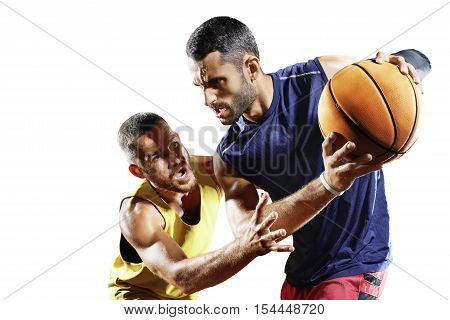 Streetball players isolated on the white background