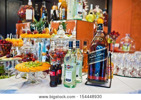 Hai, Ukraine - October 25, 2016: Large Bottle Of Black Label With Martini And Coke On The Buffet Tab