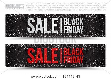 Black Friday Sale vector web banners set on white background. Design elements template for digital marketing, promotion and business. 3d illustration scatter light shine snow particles blizzard