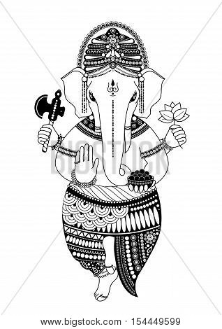 Ganesha, or Ganapati, Indian deity in the Hindu, remover of obstacles, patron of wisdom and astrology. Vector illustration in black and white style for design of coloring book, Chaturthi invitations.