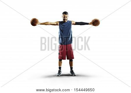 Streetball player isolated on white two balls
