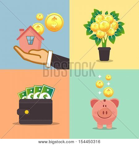Concepts for finance, stock market and business, investing, making money, profit, piggy bank. Can be used for infographics, web design, diagram, banners, promotional materials