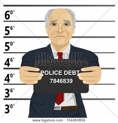 Arrested senior businessman posing for a mugshot holding a signboard poster