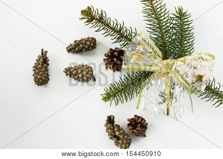 Spruce branches with cones on a white background. Transparent bow with a gold pattern.