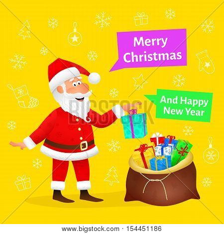 Merry Christmas card. Flat funny old man character holding Xmas gift on Christmas background. Holiday banner or poster template. New Year decoration design. Santa Claus cartoon vector illustration