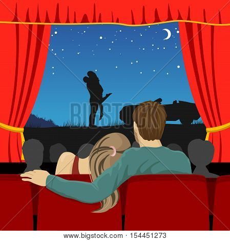 back view of couple of lovers watching romantic movie in cinema theater