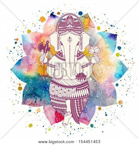 Ganesha, or Ganapati, Indian deity in the Hindu. On watercolor lotus flower with paint splash. Vector illustration for design of prints, web, festive, Chaturthi invitations.