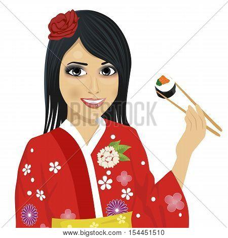 beautiful japanese woman wearing kimono eating sushi with chopsticks isolated over white background