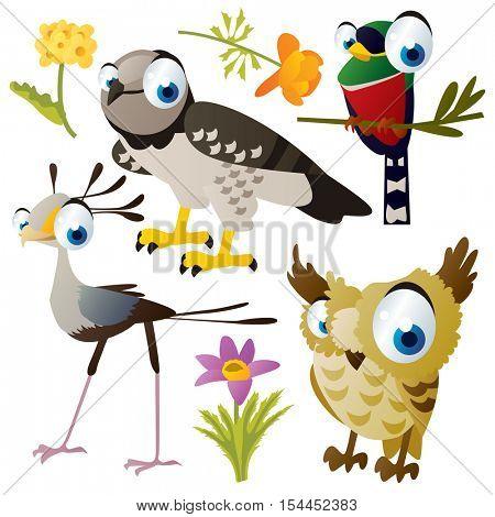 vector cute colorful cartoon isolated birds and flowers illustrations collection: harpy, trogon, secretary bird, owl