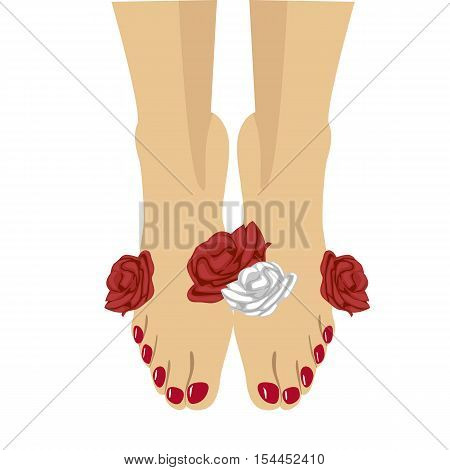 Close-up illustration of beautiful woman feet with red pedicure and roses around