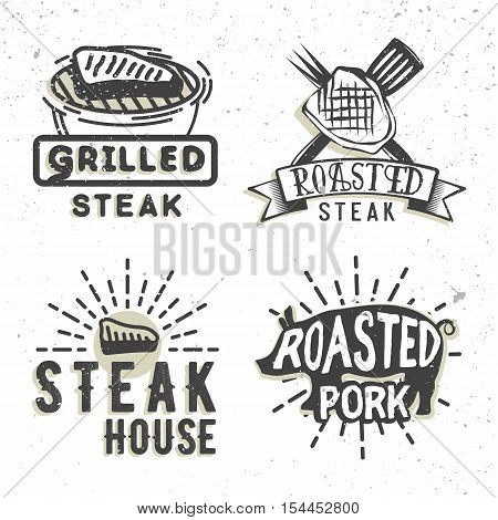 Set of logos design with grilled steak and grilled pork. Vector illustration. Bbq logos used for advertising steak house, bbq house, snack bar or restaurant menu.