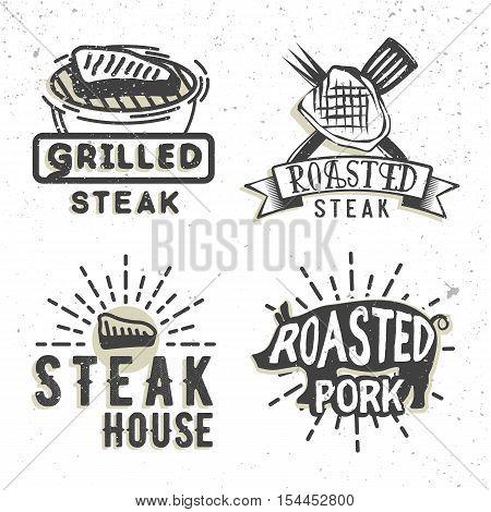 Set of logos design with grilled steak and grilled pork. Vector illustration. Bbq logos used for advertising steak house, bbq house, snack bar or restaurant menu.
