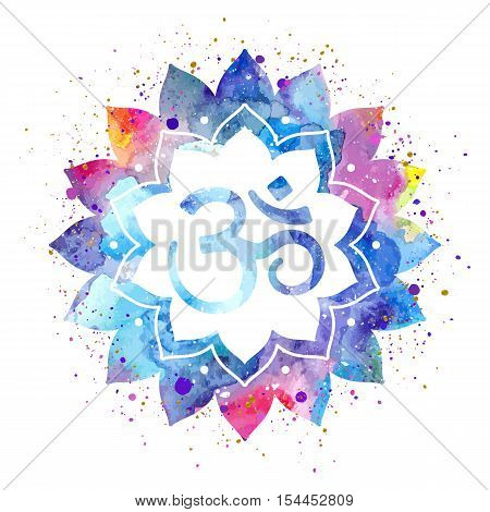 Om sign in lotus flower. Rainbow watercolor texture and splash. Vector isolated. Spiritual Buddhist, Hindu symbol