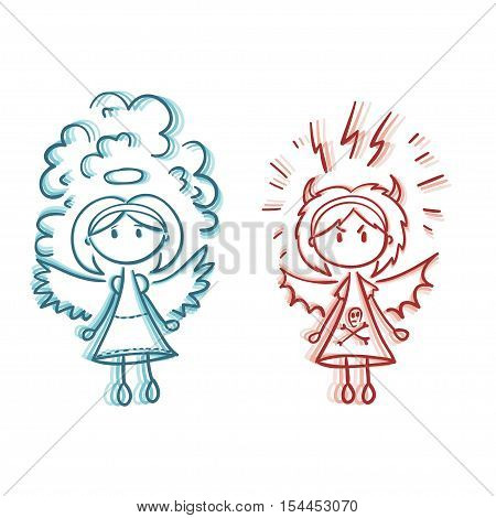 Girl angel and devil. Graphic sketch style vector illustration. Flat set.
