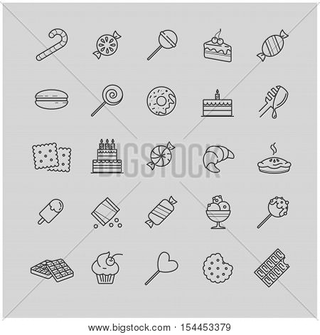 Outline icons - candy, cakes, cookies, sweet, ice cream for your design