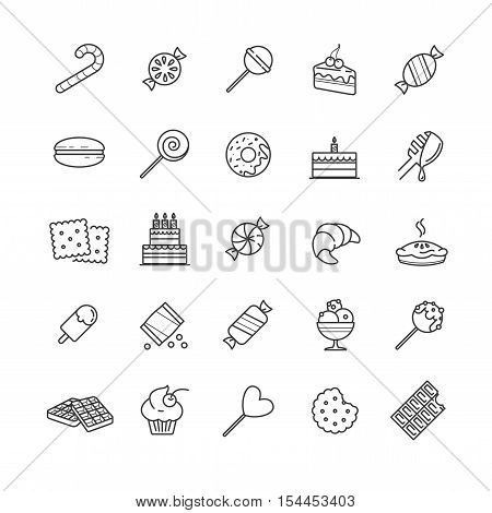 Outline icons set - candy, cakes, cookies, sweet, ice cream for your design