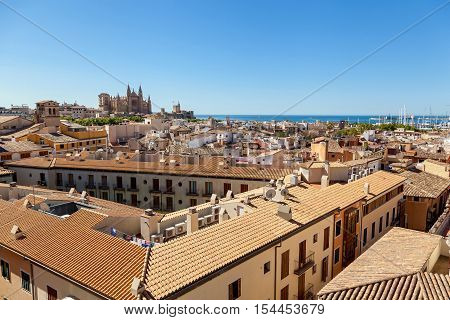 View of Palma de Mallorca. Wiew of Palma de Mallorca from the roof of one of the houses of the seaside town. In the distance you can see the Cathedral of Santa Maria in the background of the azure sea.