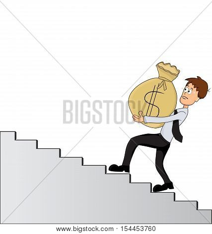 catoon cary huge money bag climbing up on ladder
