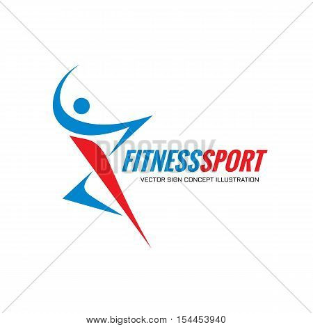 Fitness Sport - vector logo template concept illustration. Human character. Abstract running man figure. People sign. Positive dance. Design element.