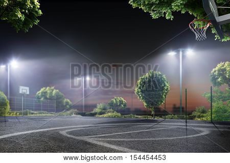 Streetball school arena in the night lights