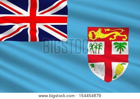 Flag of Fiji Suva - Melanesia. 3d illustration